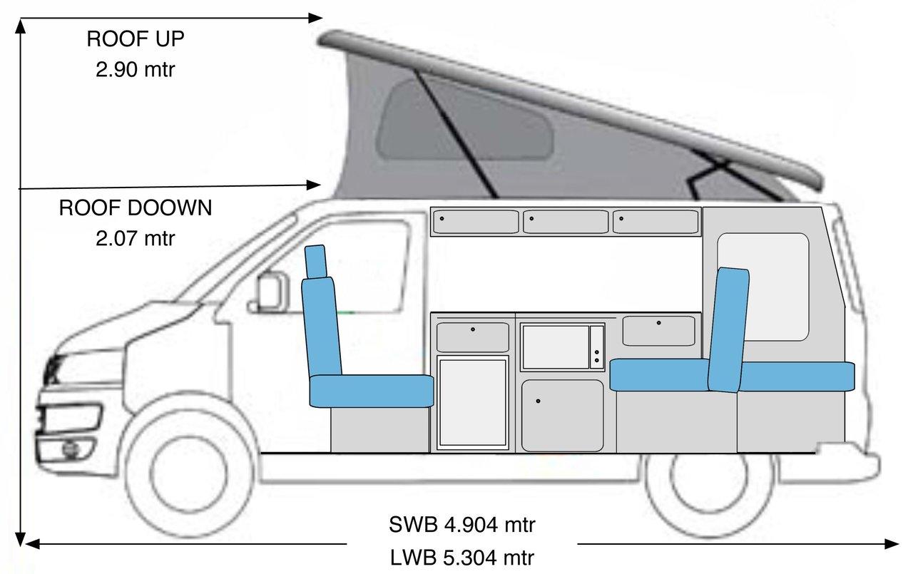 VW Campervan Hire Vehicle Dimensions