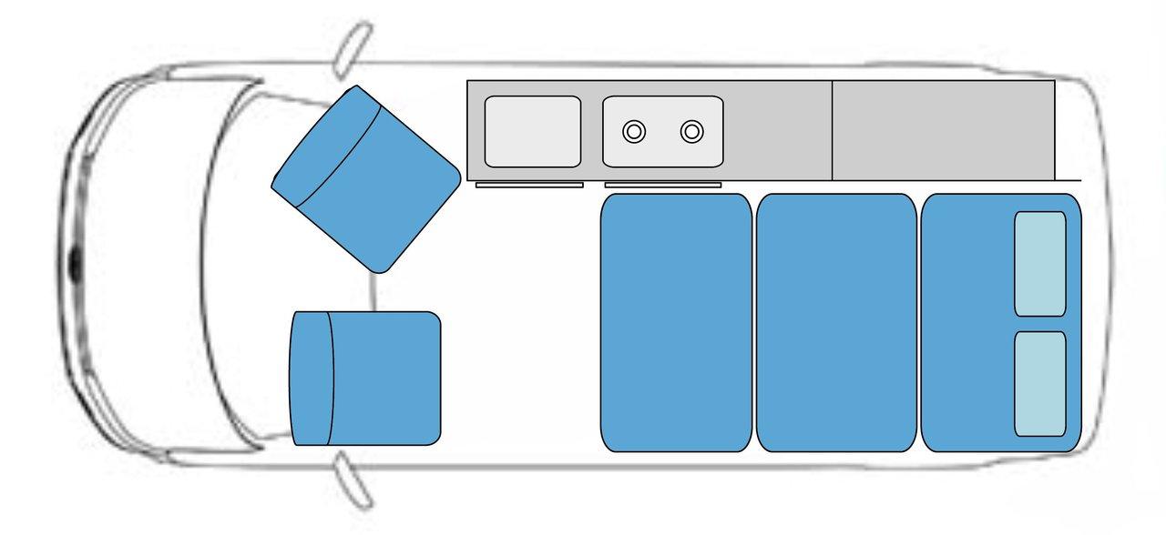 VW Campervan Rental Vehicle Layout
